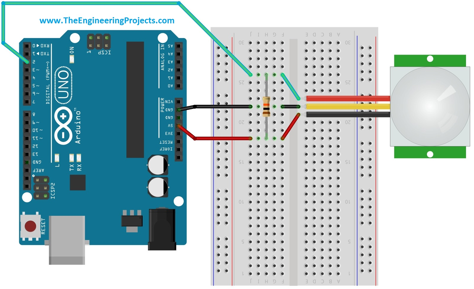 pir motion sensor wiring diagram how to read car symbols interfacing with arduino the engineering projects