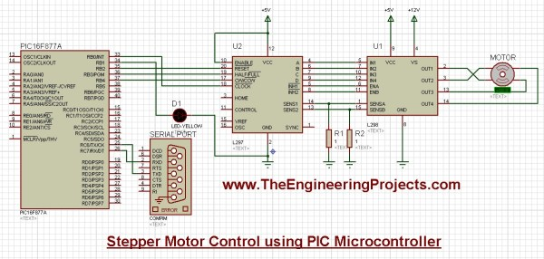 stepper motor control, stepper motor pic, pic microcontroller stepper motor, stepper motor direction control, stepper motor speed control, interfacing of stepper motor with pic