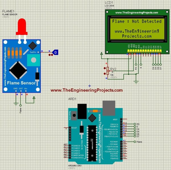 Interfacing of Flame Sensor with Arduino, Flame Sensor with Arduino, flame sensor arduino, arduino flame sensor,flame sensor in proteus