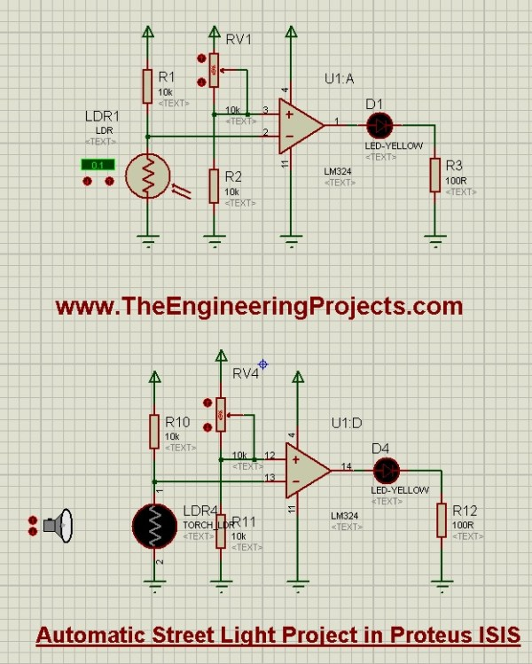 Automatic Street Light Project in Proteus, automatic street light, street light ldr, ldr led circuit, circuit diagram of led ldr