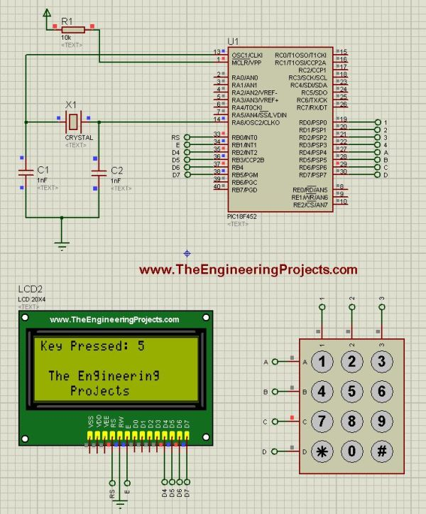 keypad with pic, keypad with pic microcontroller, pic with keypad, pic microcontroller with keypad