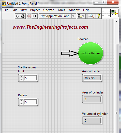 Area and volume calculation with the radius in LabVIEW, Calculate area of circle using LabVIEW, How to find area of cylinder in NI LabVIEW, LabVIEW to find area and volume of different shapes with the given radius, Find area and volume with the radius in NI LabVIEW