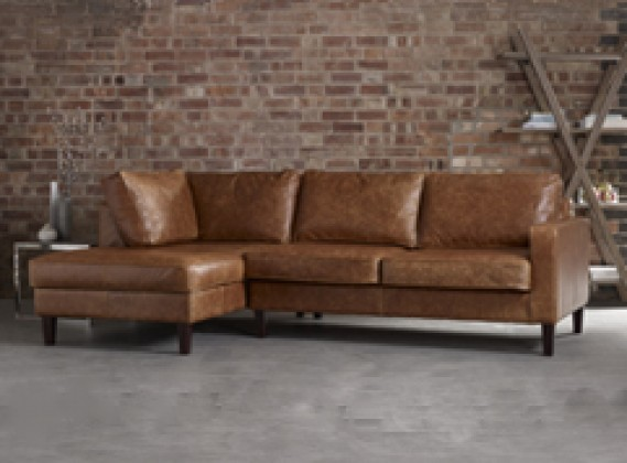 distressed leather corner sofa uk oakland sofas handmade from real top grain 50 colours drake chaise left hand facing