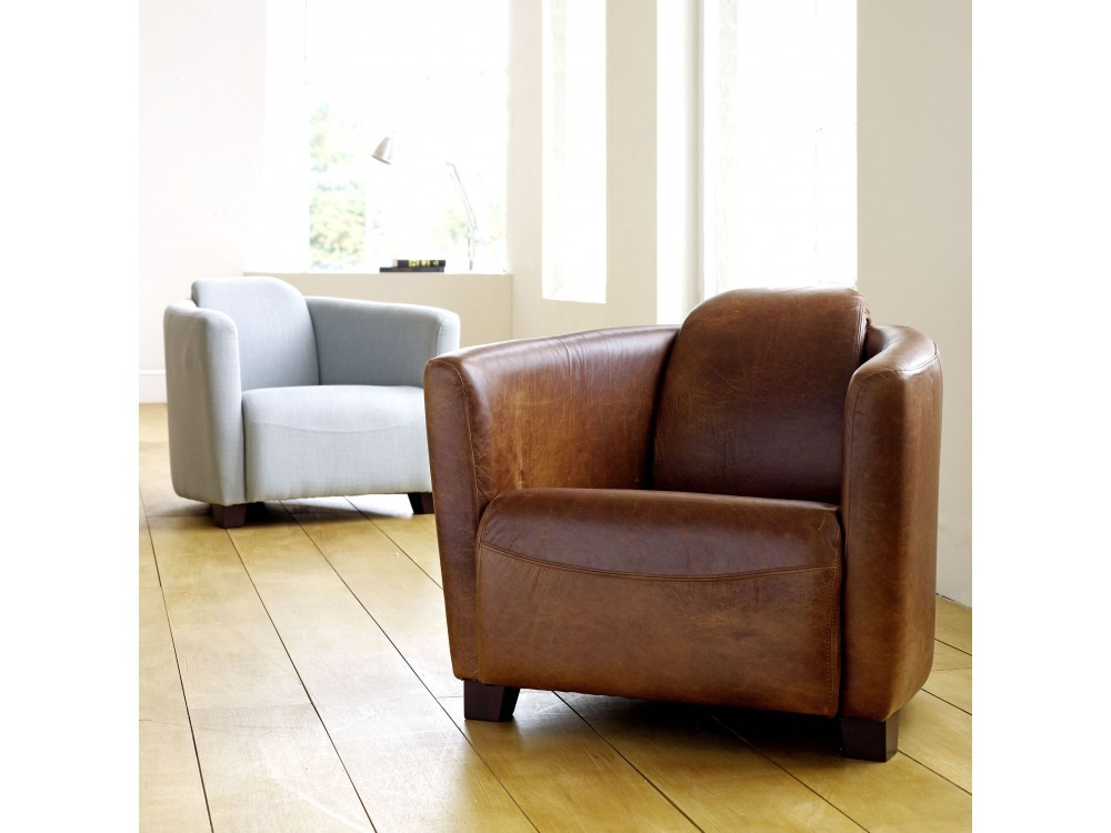 Leather Tub Chair  Hudson  The English Sofa Company