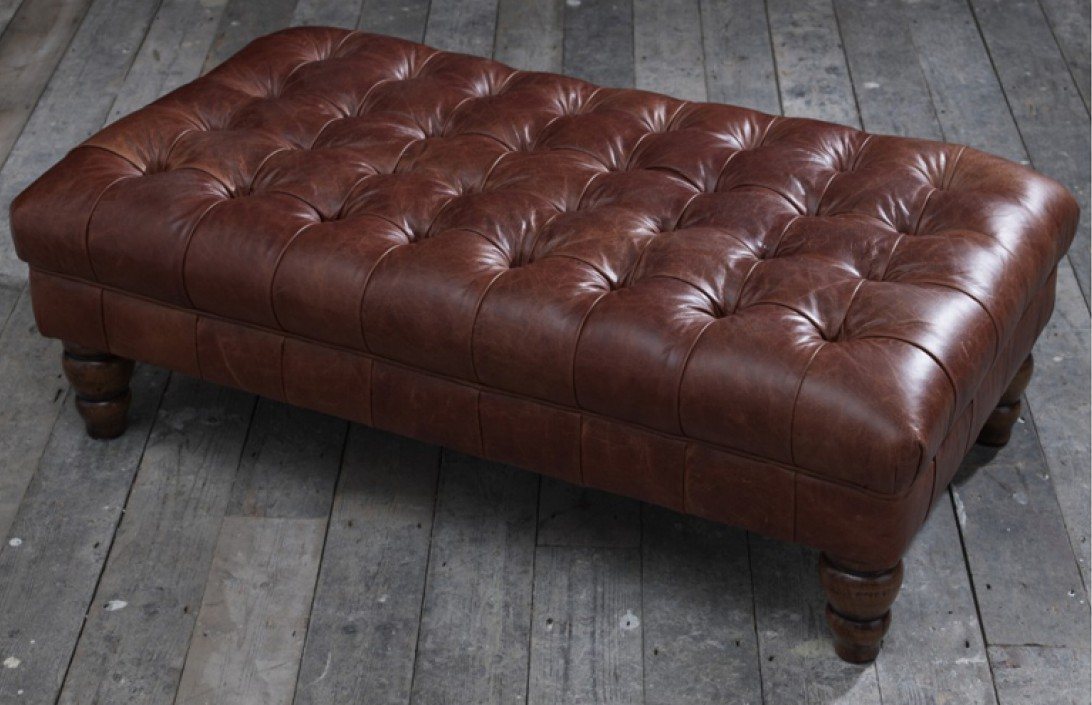 brown leather sofa uk accent chairs to go with vintage footstool | stools