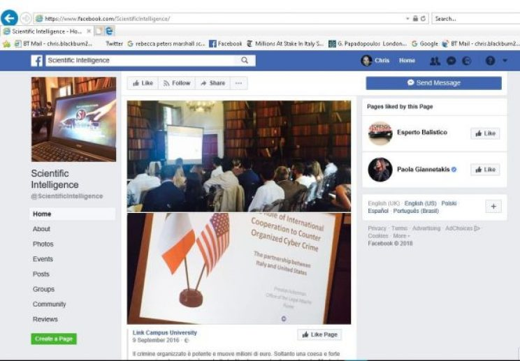 A Sep. 9, 2016, Facebook post by Link Campus University shared by its affiliated Facebook page Scientific Intelligence. The bottom photo appears to show the author of the presentation as Preston Ackerman of the Office of the Legal Attaché in Rome