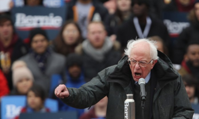 Democratic presidential candidate and self-described socialist Sen. Bernie Sanders (I-Vt.) speaks to supporters at Brooklyn College in the Brooklyn borough of New York City on March 2, 2019. (Spencer Platt/Getty Images)