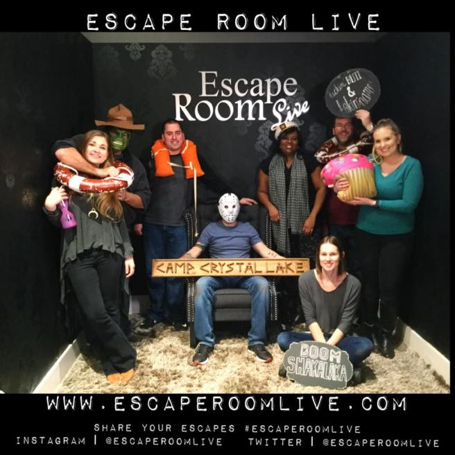 Team Disturbed Friends (Mark, Jason, Steph, Catherine, Mike and Katheryn) avoided being killed by Jason Vorhees! Photo courtesy of Escape Room Live Georgetown's Facebook group.