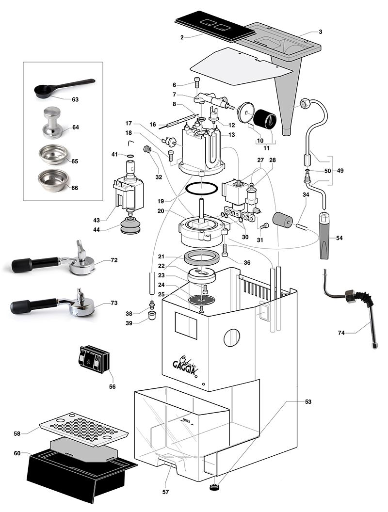 Gaggia Classic Spare Parts diagram, exploded diagram, The