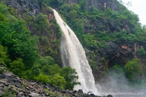 Waterfall into the Zambezi river