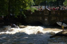 Surfing in the Isar River