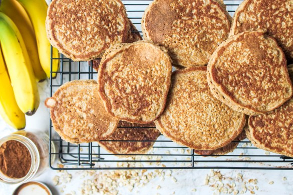 Banana Oat Pancakes cooling on a wire rack