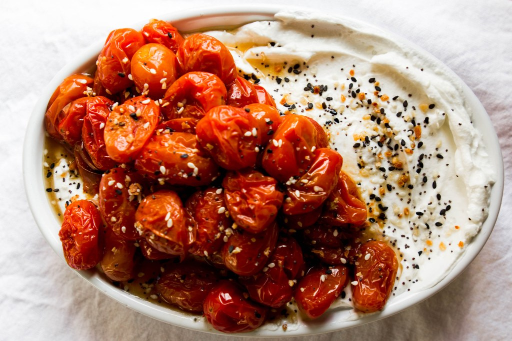 """Everything"" Roasted Tomato topped Yogurt"