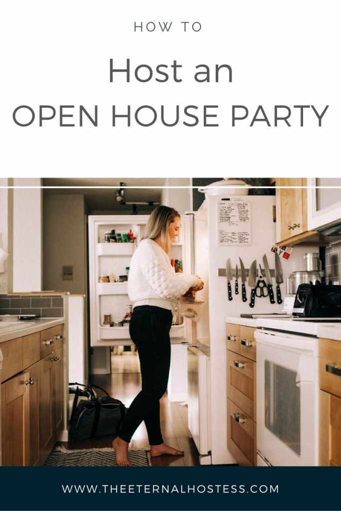 How to Host an Open House Party Cover image featuring a photo of Alex Alexander, founder of The Eternal Hostess standing in her kitchen facing her open fridge.