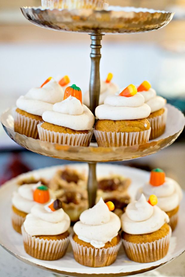 Pumpkin Spice Cupcakes with a Cinnamon Cream Cheese Frosting