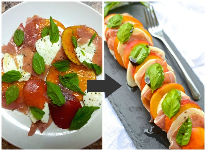 Now with better photos! Peach Prosciutto Caprese Salad at www.mybottomlessboyfriend.com