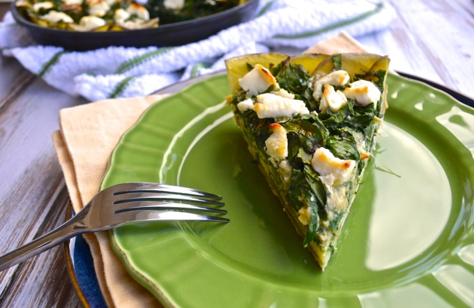 Green & Goat Cheese Quiche with Potato Crust