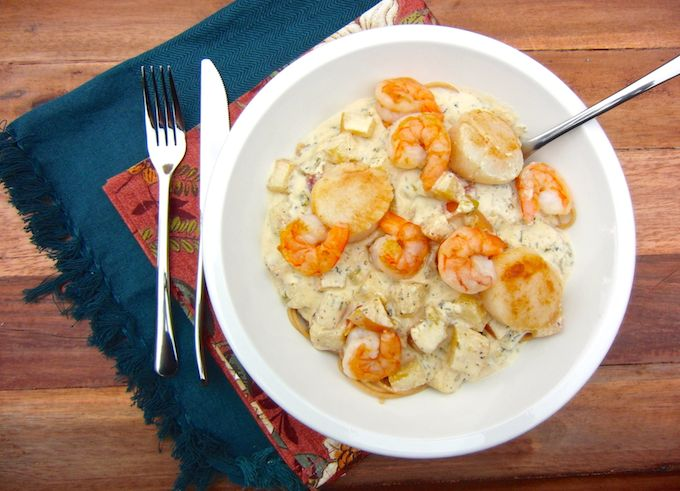 OBSESSED with Seared Shrimp & Scallops in Apple Cider Cream Sauce. Get the recipe at www.mybottomlessboyfriend.com
