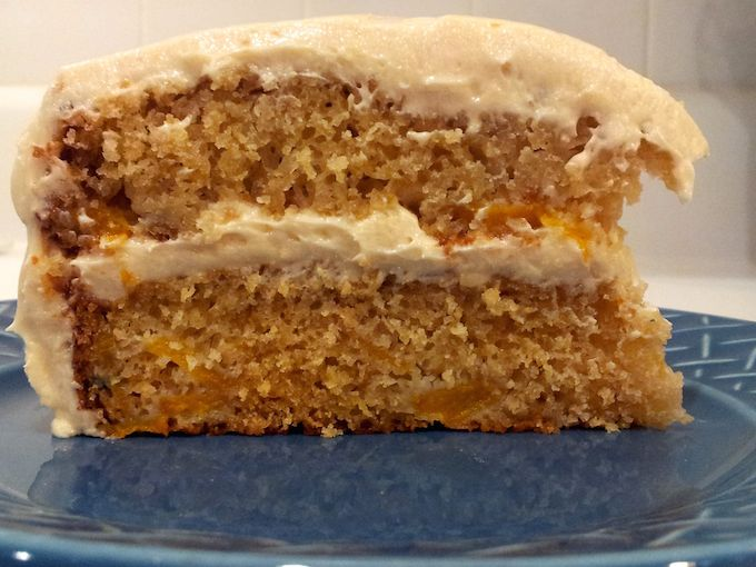 Peach Cake with Brown Sugar Frosting at www.mybottomlessboyfriend.com