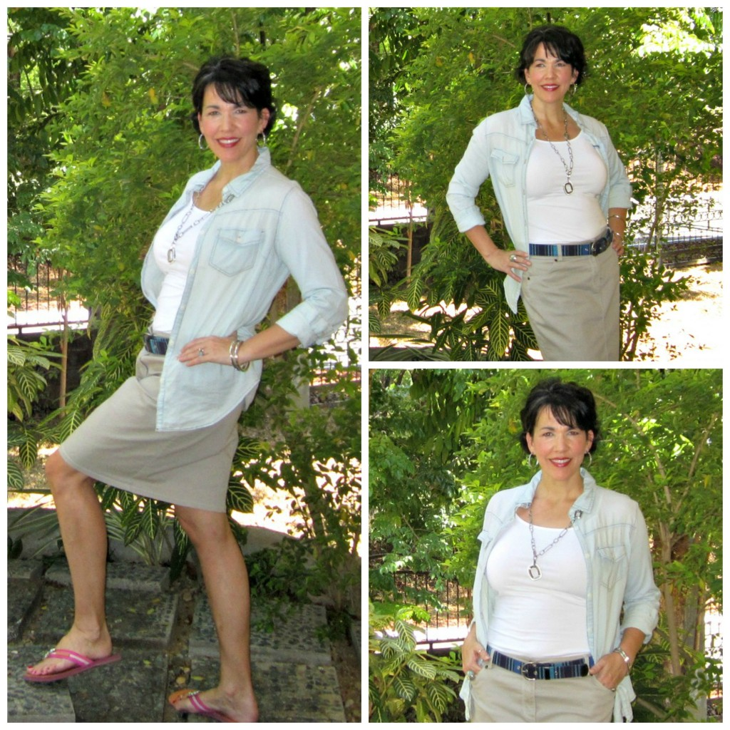 denim shirt, white camisole and khaki pencil skirt