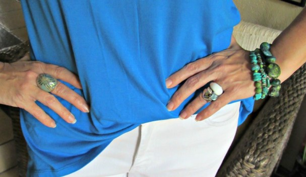 white boyfriend jeans, cerulean blue top and stainless jewelry