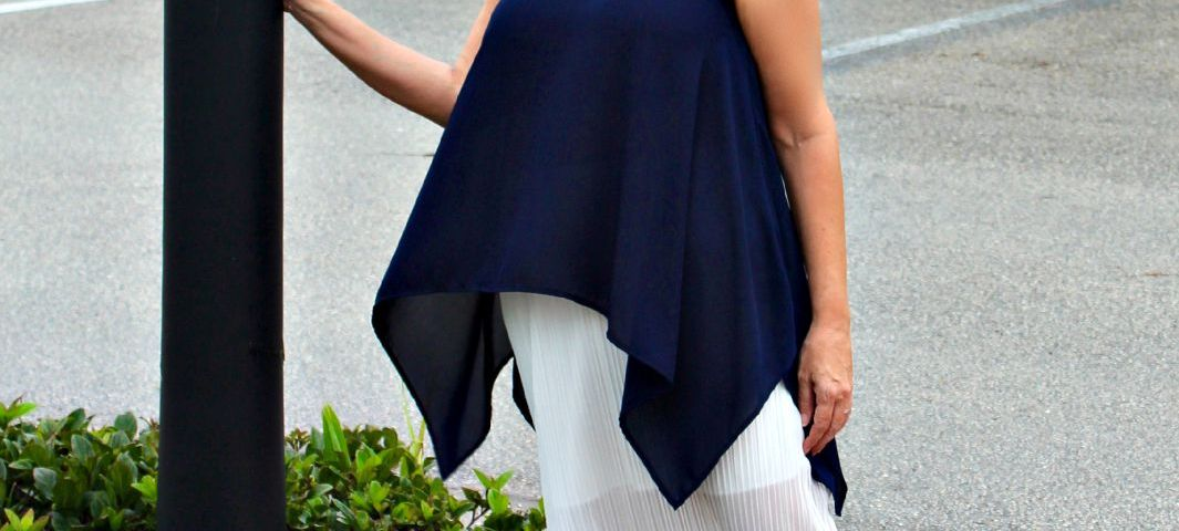 Navy Top and While Illusion Skirt.fashion over 40