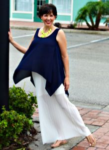 Navy Top and White Illusion Skirt