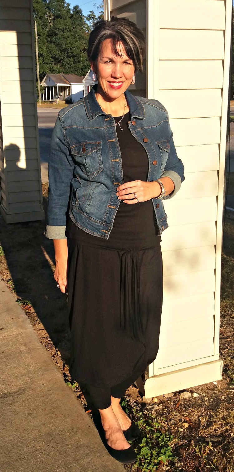 winter layering, skirt over leggings, denim jacket
