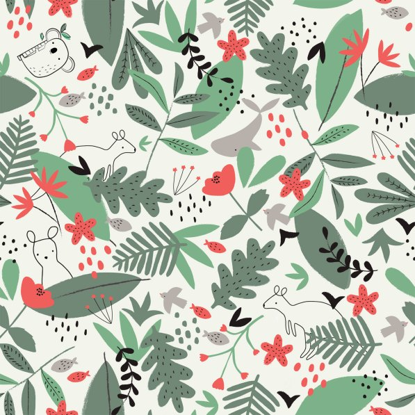 jersey fabric with leaves flowers and animals