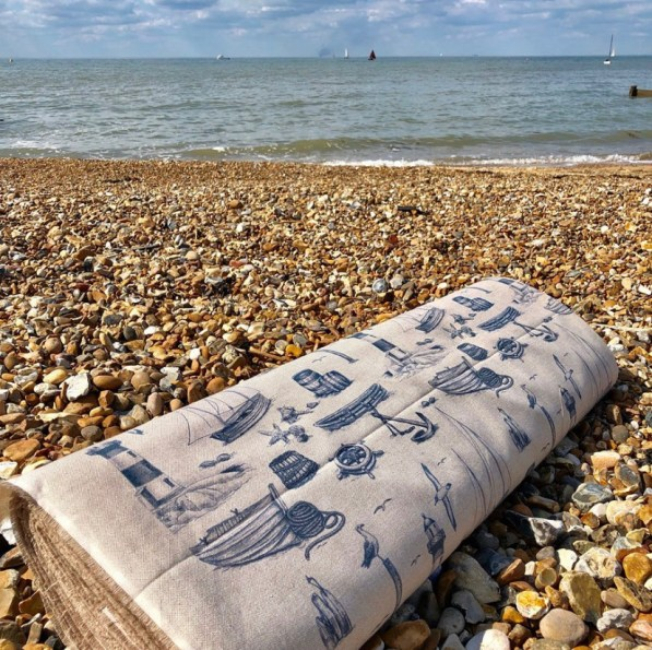 nautical fabric on beach