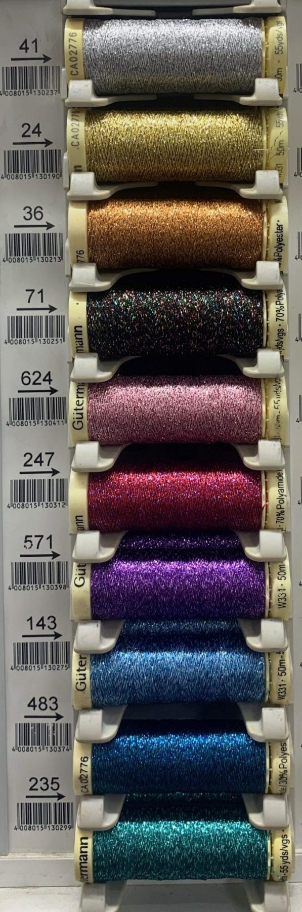 metallic effect thread range