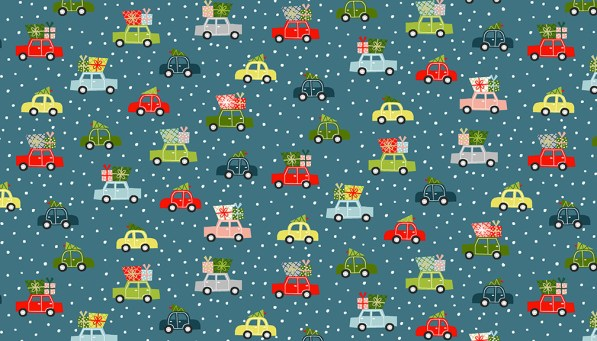 cars with trees and presents on teal background