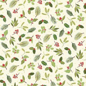 Christmas foliage small scatter print on cream fabric