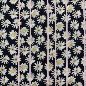 black viscose with daisy print