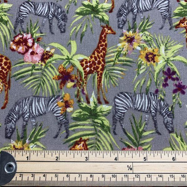safari print linen viscose fabric with ruler
