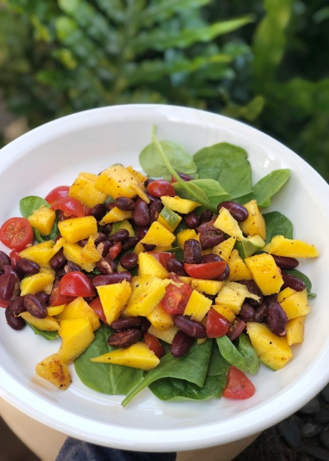 Thefabzilla Hawaii Vegan Food Blogger shares a refreshing mango bean salad recipe
