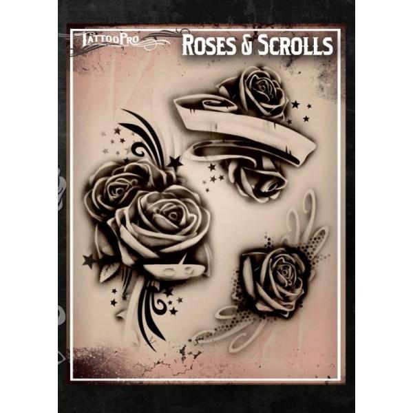 Airbrush Tattoo Pro Stencil Rose' And Scrolls