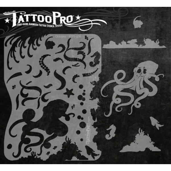 Airbrush Tattoo Pro Octopus Stencil