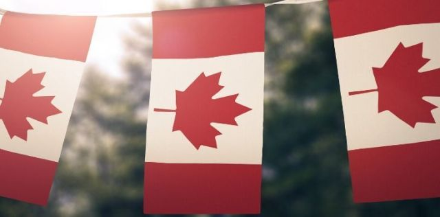 Three Canada flags