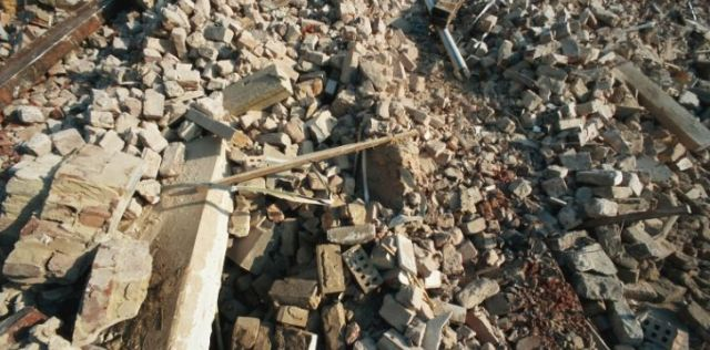 An area completely crumbled after an earthquake