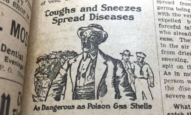 "A newspaper warning how ""coughs and sneezes spread diseases"""