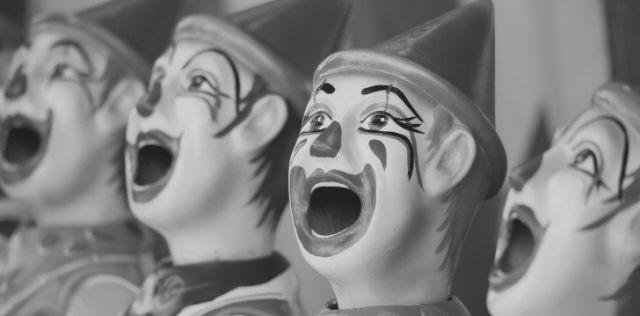 Black and white porcelain clowns