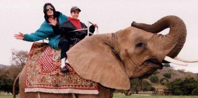 Michael Jackson riding an elephant