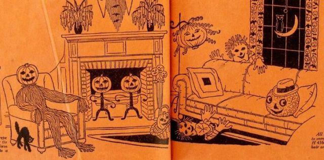 Halloween scene illustration art in a Bogie Book