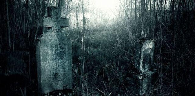 Gravestones at dusk