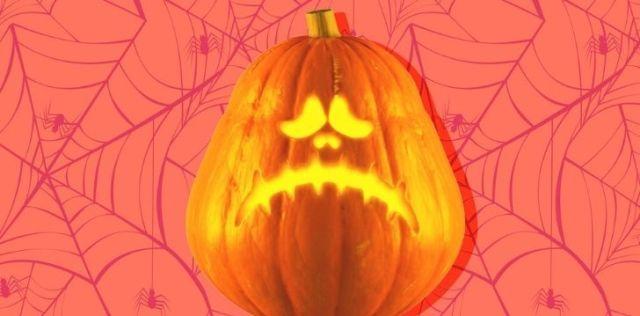 A pumpkin with a sad face