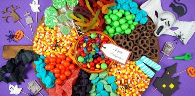Lots of different Halloween candies