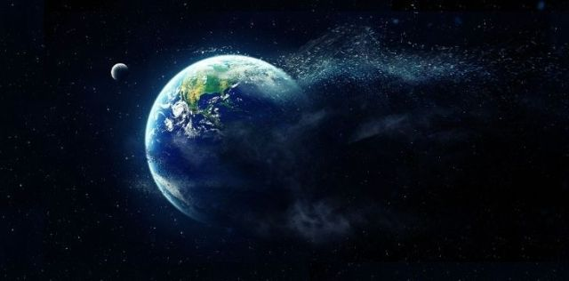 Earth breaking apart into tiny pieces