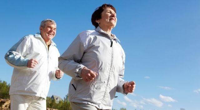 A mature couple enjoying a run together