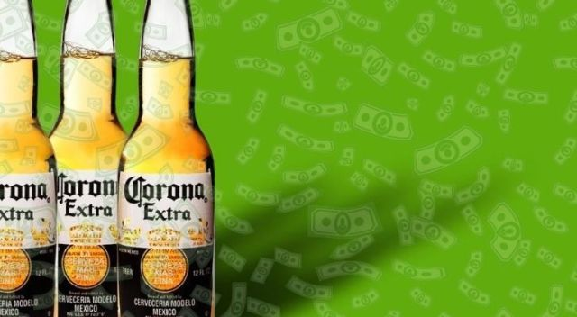 Three Corona beer bottles with a green background and lots of falling money